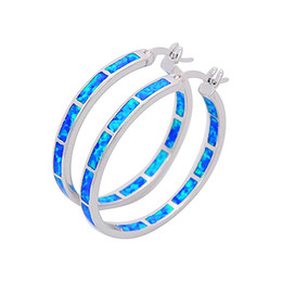 Wholesale & Retail Fashion Blue &White Multicolour Fine Fire Opal Earrings 925 Silver Plated Jewelry EJL1631001
