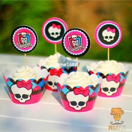 120pcs Monster High cupcake wrappers&toppers decoration kids birthday party supplies cupcake cases cupcake liner AW-0021