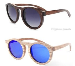 Wholesale Round Cat eye Wood Bamboo Natural Frame Keyhole Sunglasses Fashion men women POLARIZED lens sunglasses summer Fashion Accessories hand made