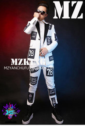 Male singer fashionable nightclub in Europe and the runway looks wool mill wool buiter white suit suit costumes. S - 6 xl