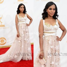 Wholesale Kerry Washington Scandal Actress In Marchesa Gowns A Line Amazing Lace Handmade Flowers Emmys Red Carpet Evening Pageant Prom Dresses
