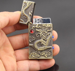 Free Shipping China's Ancient Culture Dragon Pattern Refill Butane Gas Cigarette Jet Flame Windproof Lighter Golden