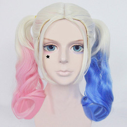 Wholesale Film Movie Heat Resistant Fibre Figure Suicide Squad Harley Quinn Cosplay Clown Curly Gradient Wigs