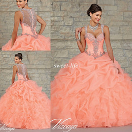 Wholesale Best Selling Ball Gown Quinceanera Dresses Ball Gown Ruffled Peach Organza Beading Crystal Sheer Back Sweetheart Sweet Party Dresses
