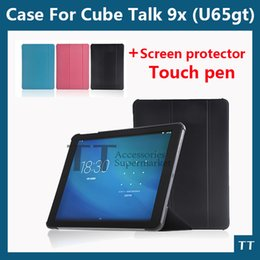 Wholesale Cube Tablet Cases - Wholesale-High quality 9.7 inch Cube Talk 9x PU Leather Case Protective Cover for Cube U65GT tablet pc with wake sleep + free 3 gifts