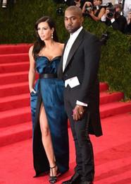 Top Selling Kim Kardashian Strapless Sheath Satin Front Split Celebrity Dresses Ruffles Wasitband Evening Gowns