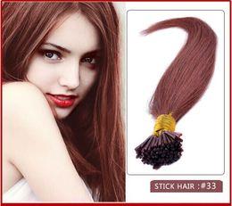 "wholesale-5A - 1g s 100g pack 14''- 24"" Keratin Stick I Tip Human Hair Extensions Brazilian hair 33# dark auburn dhl Fast shipping"
