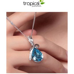 Wholesale European and American market hot sale crystal diamond angel tear pendant necklace chain sets five colors for choice