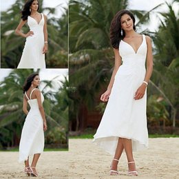 Wholesale Short Cheap Stylish Dresses - 2015 Summer Short Beach Wedding Dresses For Bride A Line Tea Length Ruched Chiffon Zipper Bridal Gowns Stylish Cheap Custom Made