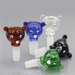 Wholesale Smoking Dogo News Love Bear Shape Bowls Glass Animal Shape Smoking Bowls mm mm Male Joint Bowls for Glass Bongs