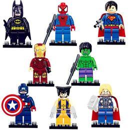 Wholesale 8pcs Marvel Super Heroes The Avengers Minifigures Iron Man Batman Building Block Sets Model Bricks Toys Legoe Compatible