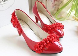 Shipping shoes lace Princess pearl handmade wedding shoes with white Bridesmaid Wedding Dress Shoes bride