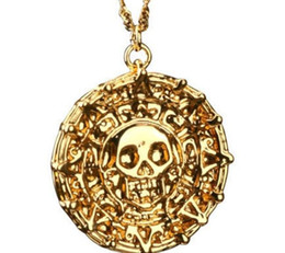 Wholesale 2015 new popular vintage pirates of the caribbean necklace Jack Sparrow Aztec coin gold pendant Johnny Depp