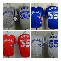 2015 New Toronto Blue Jays Baseball Jerseys #55 Russell Martin Blue White Grey Red Cheap Stitched Baseball Wear Athletic Shirts Mix Orders