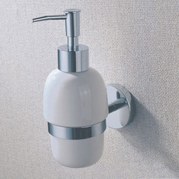 Ceramic Liquid Soap Dispenser Holder with Brass for Shower , Chrome Bathroom Kitchen Accessory with Wall Mounted