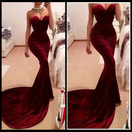 New Fashionable Burgundy Sweetheart Velvet Dress Elegant Mermaid Prom Dresses 2015 Vestido De Festas
