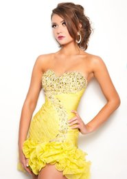 Wholesale Sexy New A Line Strapless Ruffle Cocktail Dresses Evening Gowns Yellow Sweetheart Mini Beadwork New Fashion Cocktail Dress