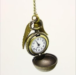Wholesale 2015 Hot Harry potter vintage pocket watch wings antique bronze pendant necklace for men and women movie star charm jewelry high quality
