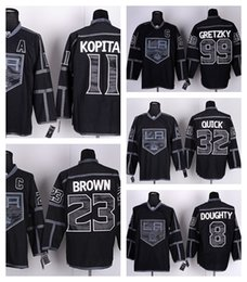 Factory Outlet, Black Ice Los Angeles Kings Jersey LA #8 Drew Doughty #11 Anze Kopitar #23 Dustin Brown #32 Jonathan Quick Wayne Gretzky Jer
