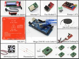 Wholesale D Printer kits Mega R3 Ramps Heatbed MK2B LCD Controller A4988 Mechanical Endstop Fan and Fan module GT2 belt