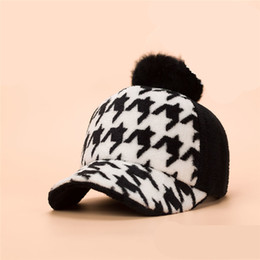 Rabbit fur pom pom baseball cap unisex houndstooth style sport hat 4 colors available free shipping