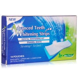 Wholesale 28pcs Strips Advanced Teeth Whitening Strips Mint Flavor Hydrogen Peroxide Pouches applications Double Elastic Gel Strips