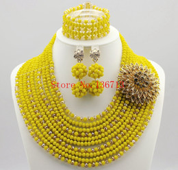 Fine African Beads Jewelry Sets Necklace Bracelet Earrings Rings Crystal Party Wedding Gold Plated Bridal Collar Accessories SY103-6