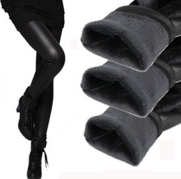 Wholesale 2015 Fashion Women Sexy Stretchy Faux Leather Black Leggings Pant Winter Warm Trouses