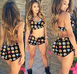 Compra On-line Tankinis mulheres s-2015 Mulheres Verão Conservador Moda Sexy QQ Expressão Imprimir Biquini Swimsuit Tankinis Set 2 Pieces Set Swimwear