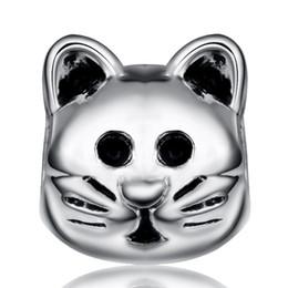 Cabeza al por mayor linda del gato 925 Charm para las mujeres encantos europeos apta del grano de la serpiente pulsera de cadena de la manera DIY Joyería desde gatos de perlas fabricantes