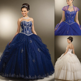 Wholesale 2015 Formal Navy Blue Quinceanera Dresses Ball Gowns With Jacket Tulle Floor Length Girls Party Dress On Line Website Stores Sweet Sixteen