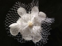 New Arrival Beaded Wedding Hair Accessories Flower Wedding Church Rhinestone Hair Accessories With Brooch Pin Hair Clip Tulle Bridal Flowers