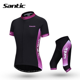 Wholesale-Santic Womens Cycling Jersey Set Black Purple Short Sleeve Summer Racing Bicycle Cycling Clothing Bike Jersey W  Shorts Suits