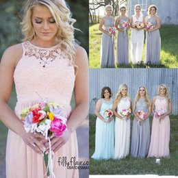 2016 New Country Style Cheap Bridesmaid Dresses Grey Blue Pink Ivory Lace Top High Waist Maternity Chiffon Long Summer Beach Dresses