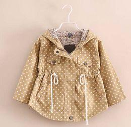 Spring Autumn Children Clothing Girls Pink Long-sleeved Windbreaker Jacket Brown Green Polka Dot Outwear 6pcs lot