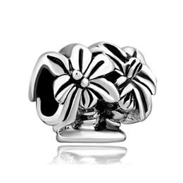 Wholesale and Retail Rhdodium Plating Large Hole Palm Tree European Charm Spacer Metal Bead Fit Pandora Bracelet