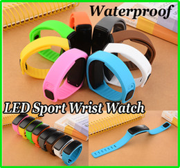 Wholesale Screen Color Squares - Unisex Candy Color Silicone LED Waterproof Sport Wrist Watch Strap Square Dial Digital Display Touch Screen Rubber Belt Bracelet 8 colors