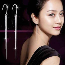 2016 Fashion Jewelry 925 Sterling Silver Three-Wire Tassel Hook Super Long Dangle Earrings