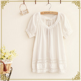 Wholesale Japanese Sen female line in the summer of new women simple V neck cotton short sleeved T shirt embroidered openwork