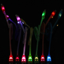 Wholesale Micro USB V8 Visible Charger Cable LED Color Light Data Smiley Flashing M Noodle Streamer Charging Cords for Phone Universal up