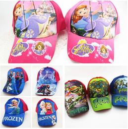 Wholesale Frozen Baseball Cap Beanies Ninja Turtle Kids Cartoon Caps Hats Toy Hats Children Sofia Baseball Cap in stock