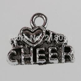 Wholesale 100pcs Fashion Vintage Silver Letters I Love cheer Charms Pendants Fit Bracelets Men Jewelry Findings 10*14mm L098