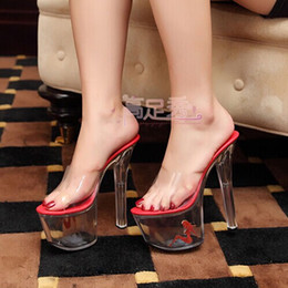 Sexy wedding shoes waterproof ultra high heel sandals shoes crystal clear red beauty bridal shoes 2014 summer new large size