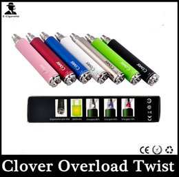 Wholesale Clover Overlord Twist Clover Overlord Variable Voltage mah Ecig Battery Huge Capacity Color Light Power Show For Vapor E Cigarette