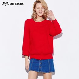Othermix 2016 new winter Women Pullovers red loose collar clothes wear thick long sleeved women sweater