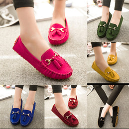 Wholesale Women Flat Shoes Fall Candy Color Bowknot Tassel Slip on Ballet Shoes Casual Round Toe Loafer Flats Zapatos Ladies Shoes