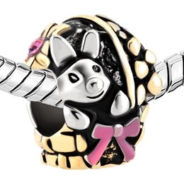 Rhodium and Gold Plating Easter Day Daffodil Flower Basket Bowknot Rabbit Bunny Bead Charm Fit Pandora Bracelet