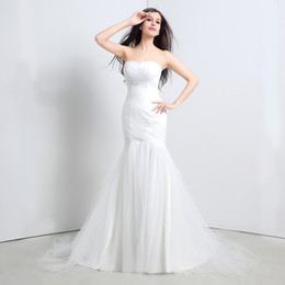 Mermaid Elegant Wedding Dresses Vestidos De Novia Sweetheart Back Lace Up Ruffed In Stock Real Picture Ivory Bridal Gowns 2015
