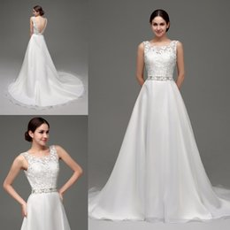 2015 Cheap Lace Wedding Dresses in Stock Sheer Wedding Gowns Scoop Neckline Low Open Back Beaded Organza White Ivory Beach Bridal Dress