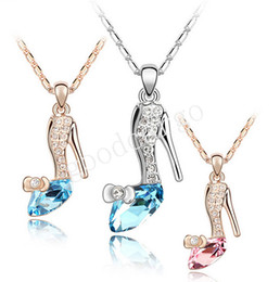 Wholesale cinderella crystal shoes jewellery necklaces pendants High quality trendy gold silver plated Austrian crystals Jewelry for women girls gift